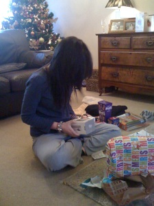 Emily opening presents