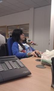 Emily at desk